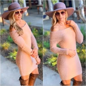 Dusty Pink Soft Sweater Off Shoulder Bodycon Dress